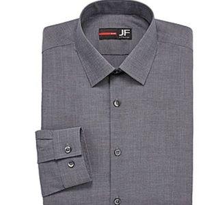JF J.Ferrar - Slim Stretch Mens Dress Shirt - Gray